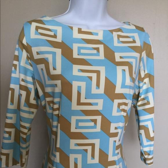 J. MCLAUGHLIN M PASTEL BLUE BROWN DRESS